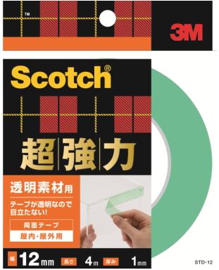 サービス 送料無料 ※沖縄 離島除くスコッチ 透明超強力両面テープ 3M スリーエム 超強力両面テープ透明素材用 STD-12 12×4m ディスカウント