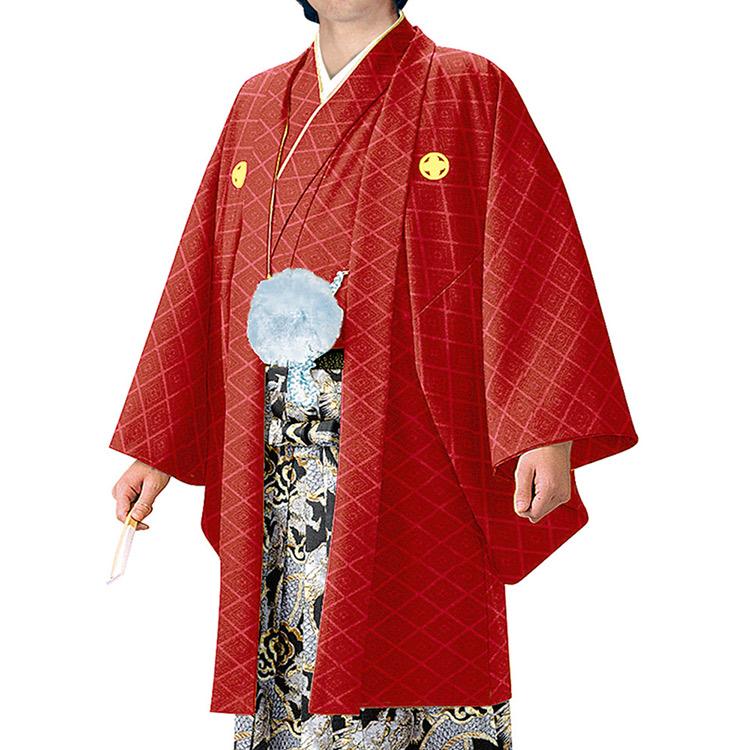 【現品限り】即納可能 紋付羽織2点セット(4号 赤色)♪【送料無料】紋付羽織 紋付 男 紋付羽織 着物セット