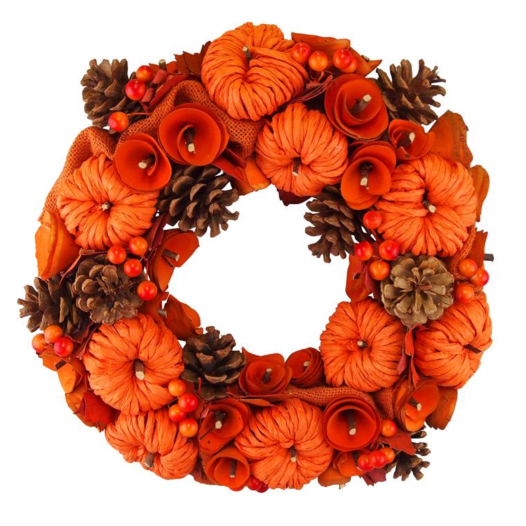 <title>WEB限定 大人気のナチュラルリース ハロウィンのオレンジカラーが新登場 秋のオータムシーズンのデザインにぴったりなオータムリースです ハロウィンナチュラルリースLサイズ オレンジカラー ハロウィン パンプキン 装飾 飾り オータムリース</title>