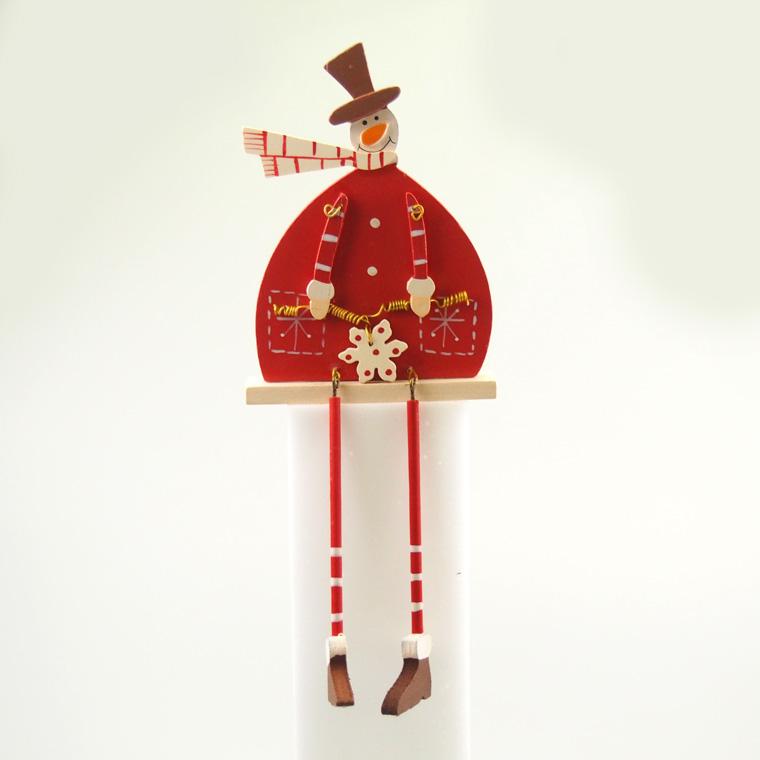 ウッドでできた足がぶらぶらスノーマンのクリスマス置物☆赤いお洋服がキュート♪ ウッドクリスマス足ぶらぶらスノーマン【クリスマス雑貨/クリスマス置物/インテリア雑貨】