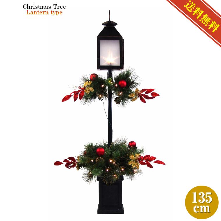 ランタンクリスマスツリー135cm レッド【クリスマスインテリア/送料無料】