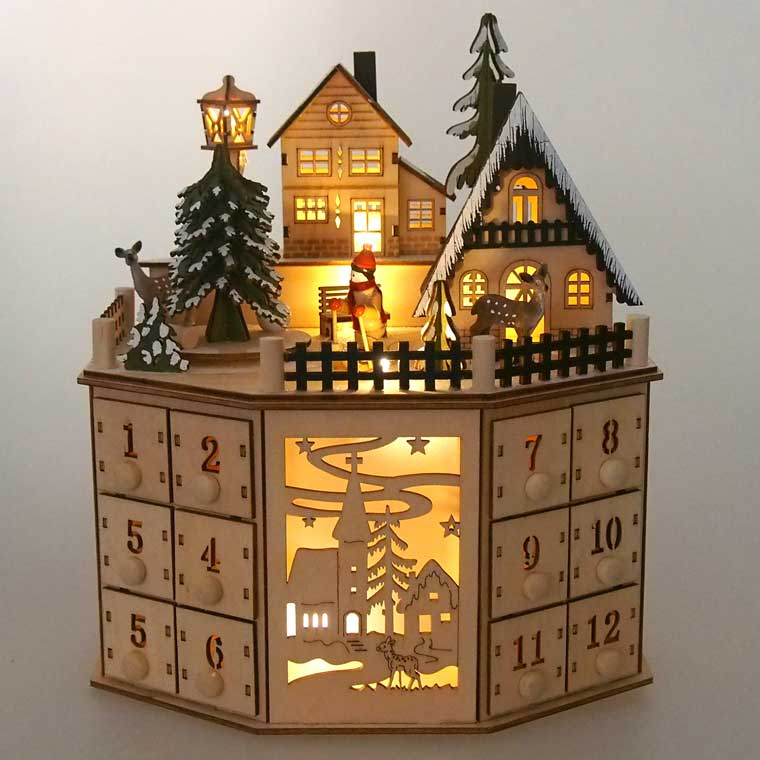 LEDウッドファンタジークリスマスアドベントカレンダー【クリスマス雑貨/クリスマス置物】