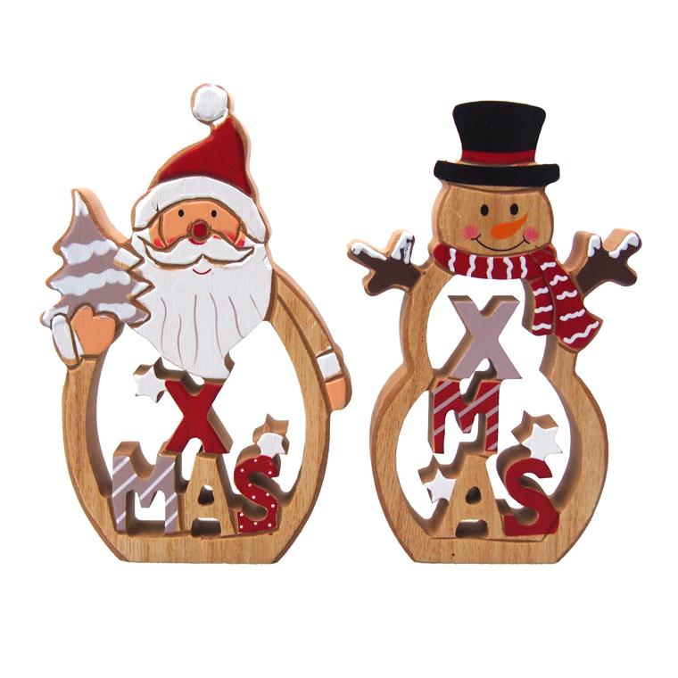 ウッドでできた重量感のあるクリスマス置物☆どこにでも置けるサイズで SALE インテリアにピッタリ クリスマス雑貨 ウッドクリスマスサンタ クリスマス置物 買い取り スノーマンスタンド