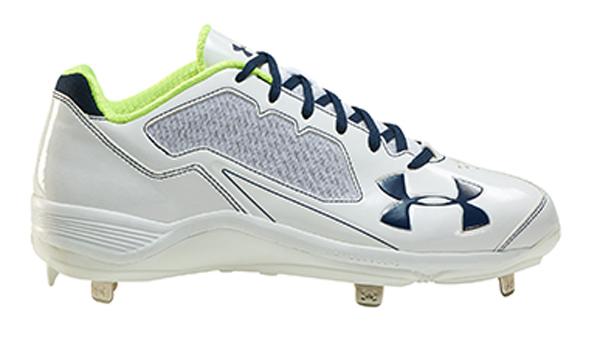 アンダーアーマー イグナイトライト LOW ST 17SS 野球 ポイントスパイク 1288598-WHTMDN (ホワイト×ミッドナイトネイビー)