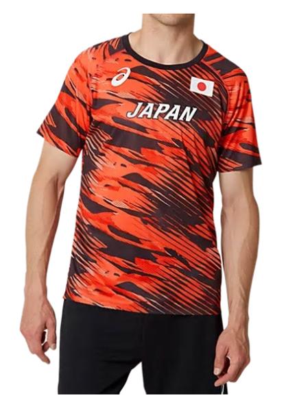 アシックス asics 日本代表オーセンティックシャツ NEW ランニングTシャツ 2091A128-600(サンライズレッド)