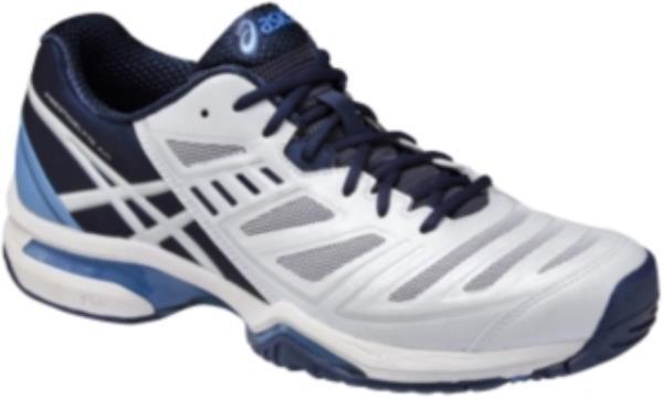 アシックス プレステージライト AC-スリム 15FW テニスシューズ TLL764-0149 (ホワイト×ミッドナイトブルー)