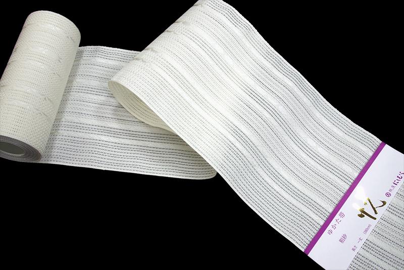 正絹 博多 粗紗織 半巾帯白地 紋縞 西村織物謹製 四寸帯 夏 半巾【送料無料!】