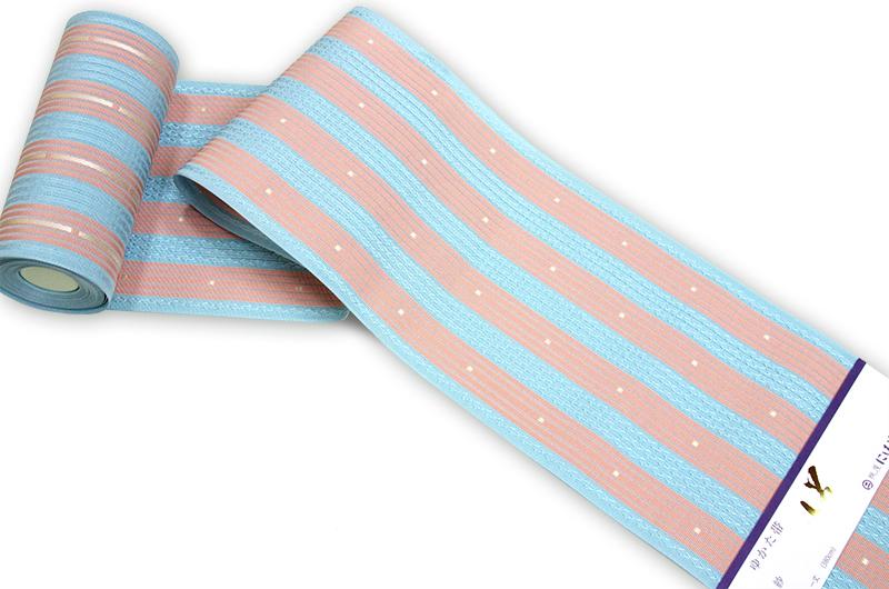 特別処分価格!! 正絹 博多 紗織り半巾帯水色地 サーモンピンク縞 西村織物謹製 四寸三分帯 送料無料