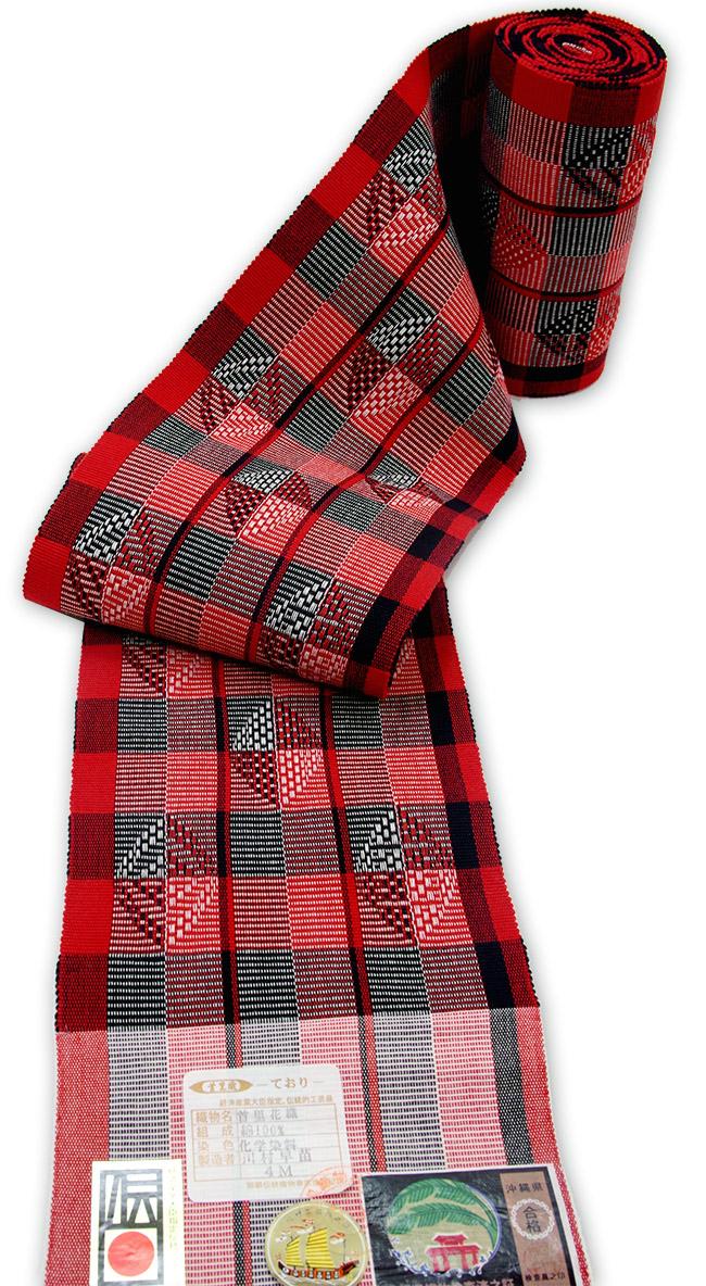 首里 花織り半巾帯 赤・黒・白 花織琉球 手織り半巾帯 【送料無料!】