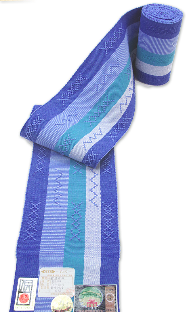 首里 花織り半巾帯ブルー濃淡縞・薄緑縞に花織柄 琉球 手織り半巾帯 【送料無料!】