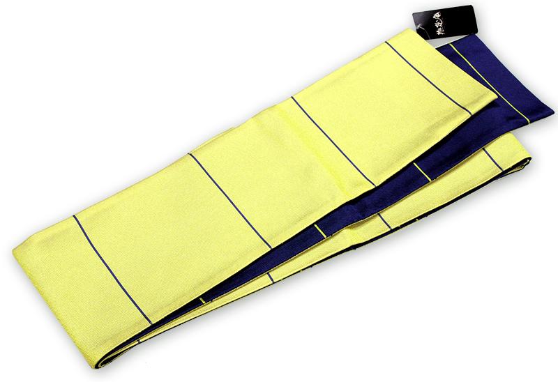 撫松庵 レディース半幅帯 細縞黄色・濃紺 リバーシブル 半巾帯【送料無料!】