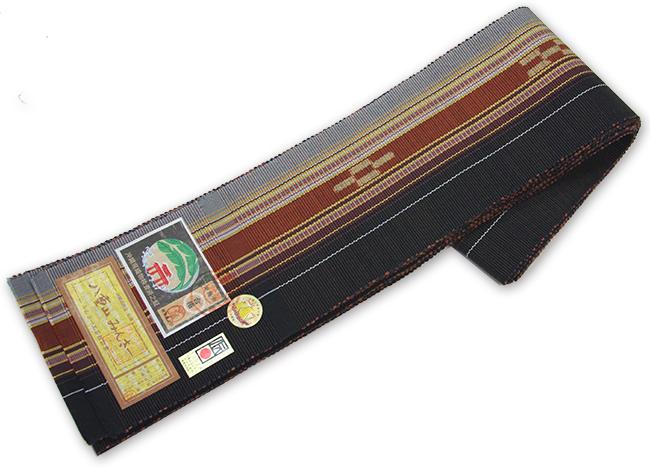 本場琉球 手織り 角帯八重山みんさー織 単衣仕立て【送料無料!】