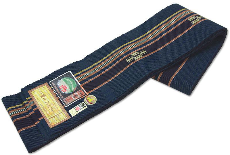 本場琉球 手織り 角帯八重山みんさー織 納戸色地 単衣仕立て【送料無料!】