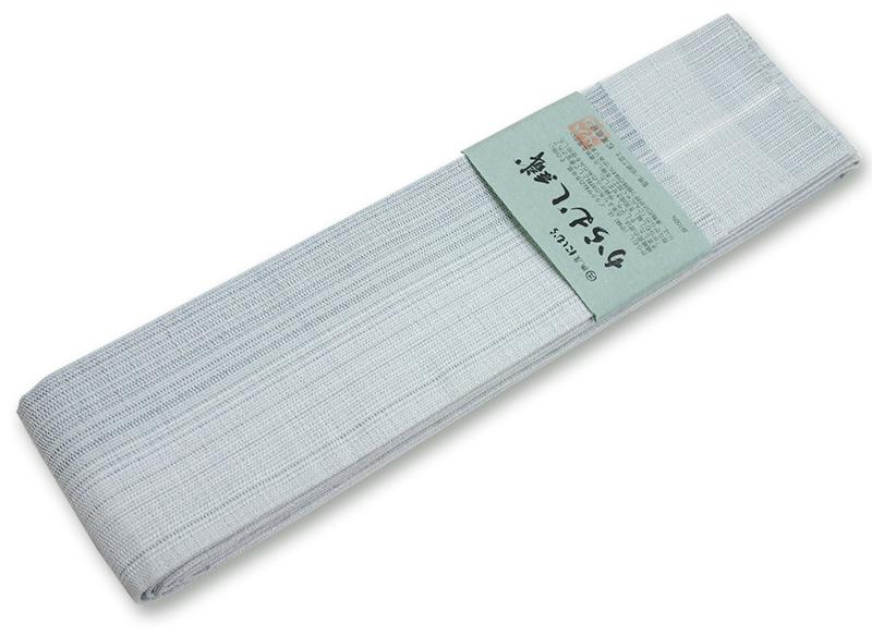 博多 角帯 からむし織り淡い灰緑濃淡 夏角帯西村織物謹製【送料無料!】