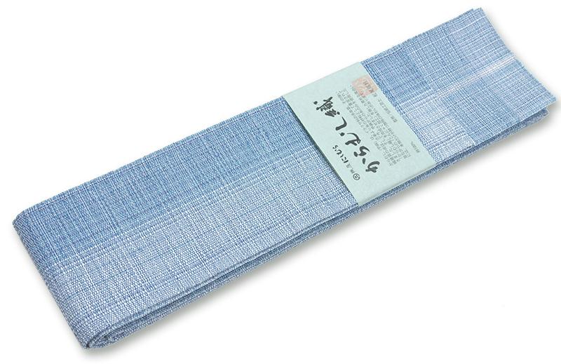 博多 角帯 からむし織り灰青濃淡 夏角帯西村織物謹製【送料無料!】
