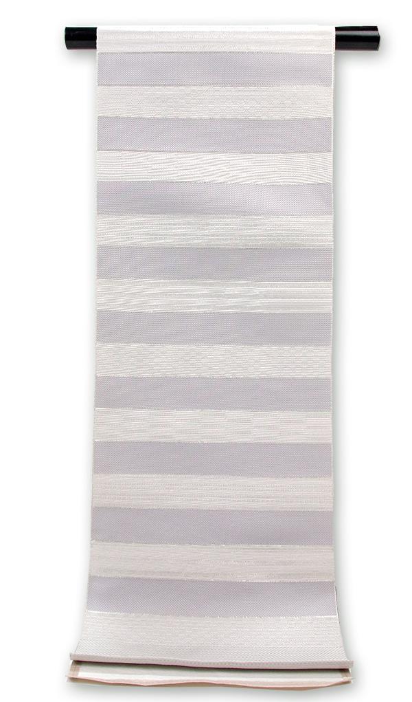 正絹 博多 紋織八寸名古屋帯グレー地 段銀糸縞入り薄グレー横柄織【送料無料!】