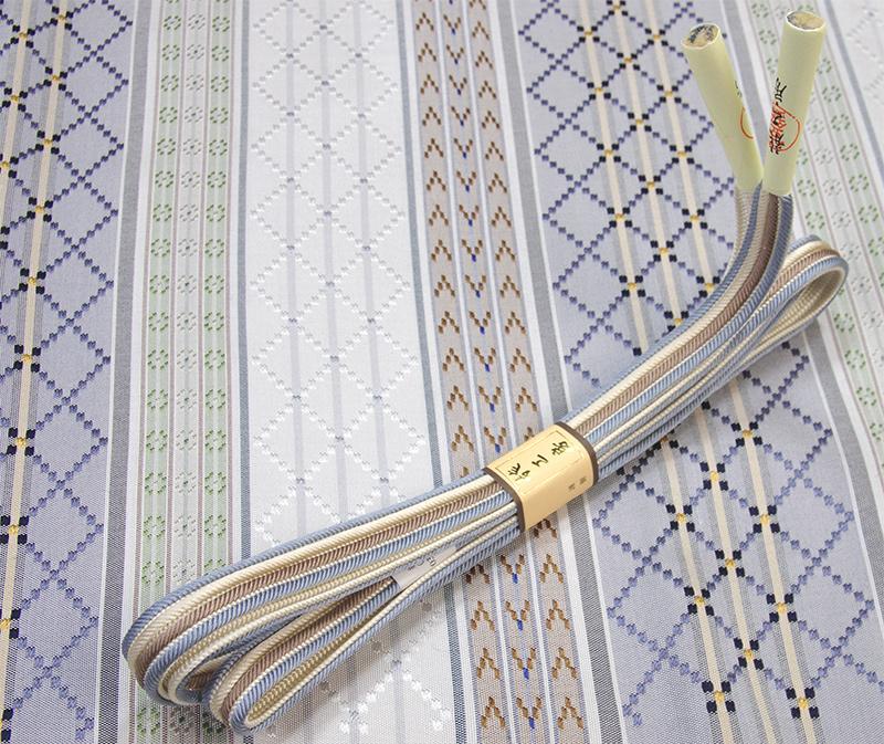 正絹帯締め両脇水色 茶鼠・生成り色縞 畝打組 龍工房謹製【送料無料】