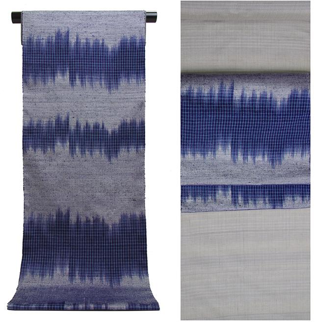 伝統的工芸品 伊那紬グレー地 段乱藍柄 手織り 九寸名古屋帯【送料無料!】