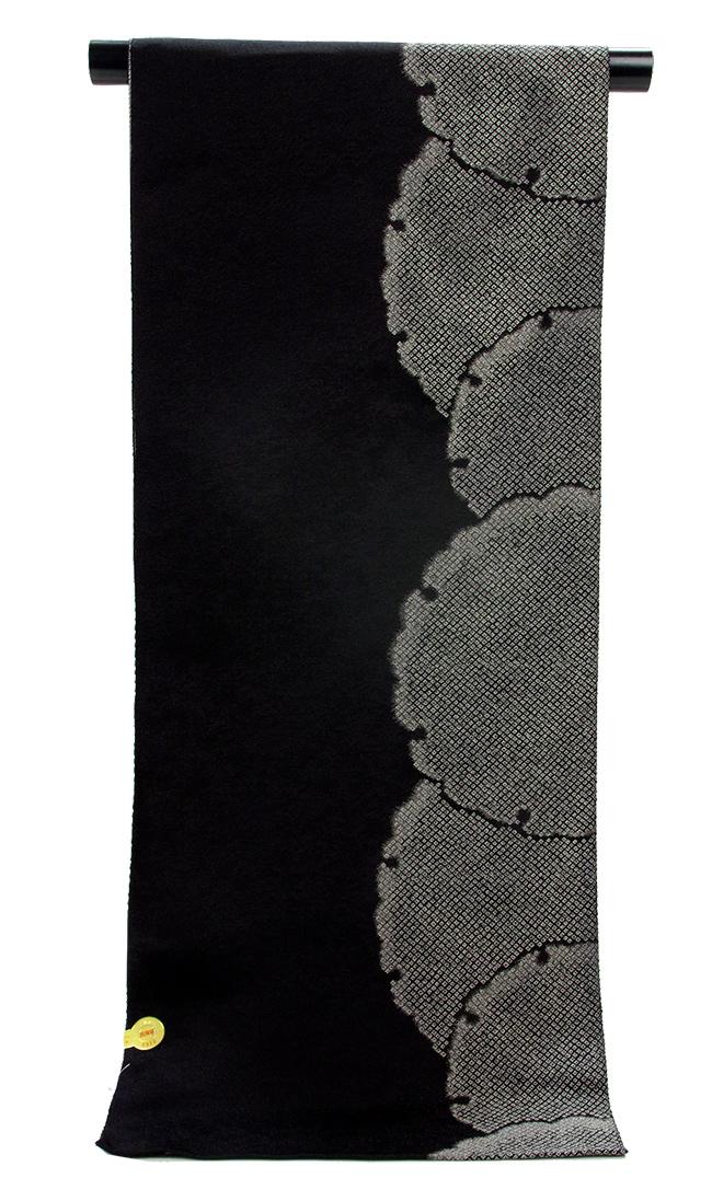 西陣 正絹 織 九寸名古屋帯鹿の子 雪輪 御召織 奏流舎 別誂え手縫いお仕立て代込み【送料無料!】