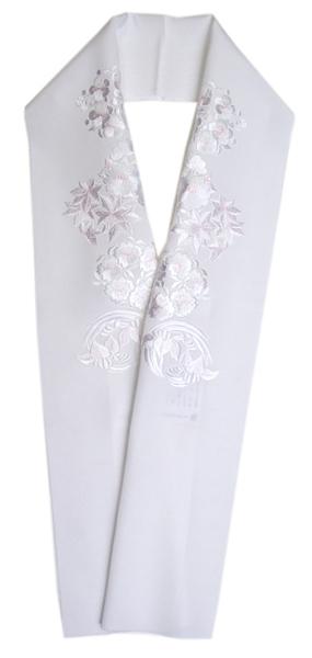 加藤萬謹製正絹塩瀬 刺繍半衿白地に四季の花丸 ピンク色差し