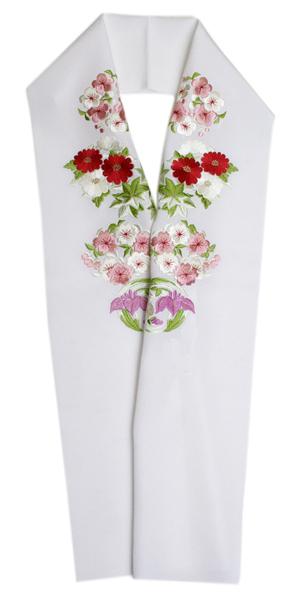加藤萬謹製正絹白地塩瀬生地 四季の花丸色刺繍半襟刺繍半衿