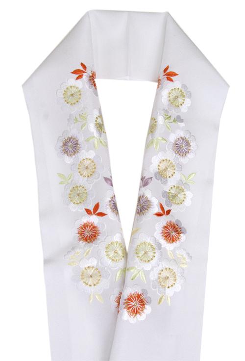 正絹 刺繍半衿正絹塩瀬生地  白地に桜刺繍半襟加藤萬謹製