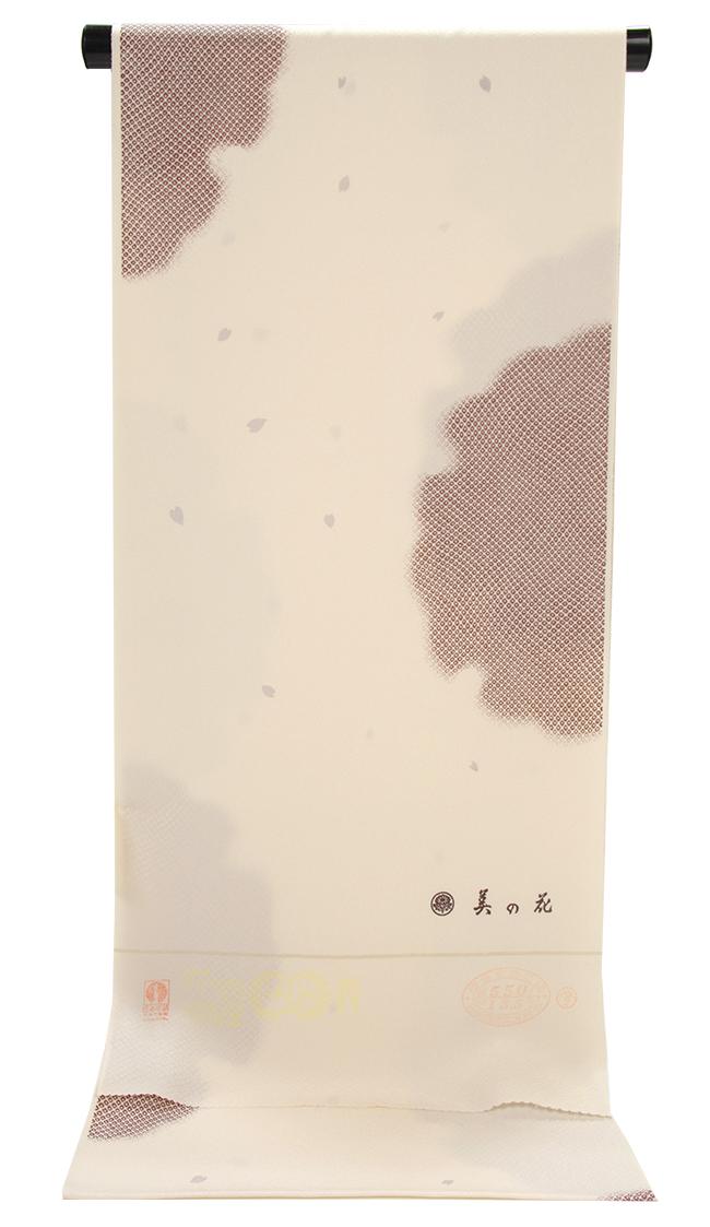 正絹 長襦袢地 縮緬生地クリーム地 鹿の子雪輪柄美の花謹製【送料無料!】