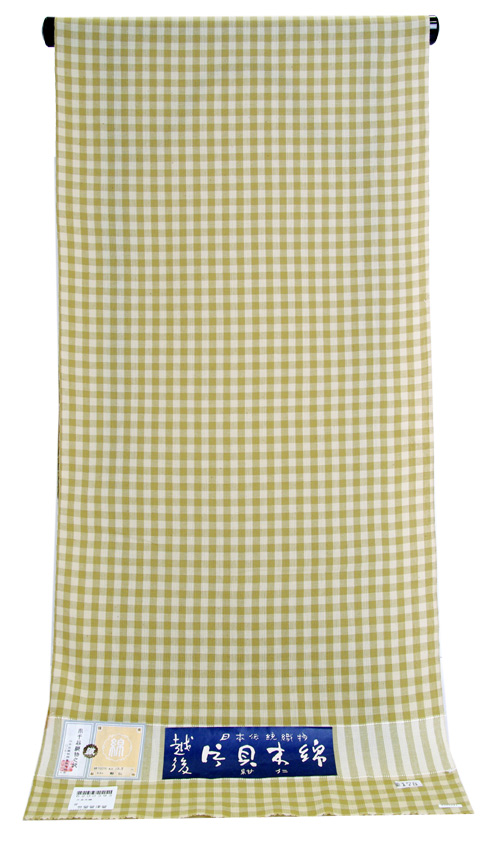 片貝木綿 反物薄ベージュ地に薄灰茶緑格子木綿の着物 送料無料, ナカマチ:c496c88a --- homeagent.jp