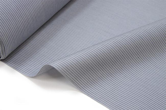 丹後木綿 反物グレー・黒 細縞 木綿の着物 【送料無料!】