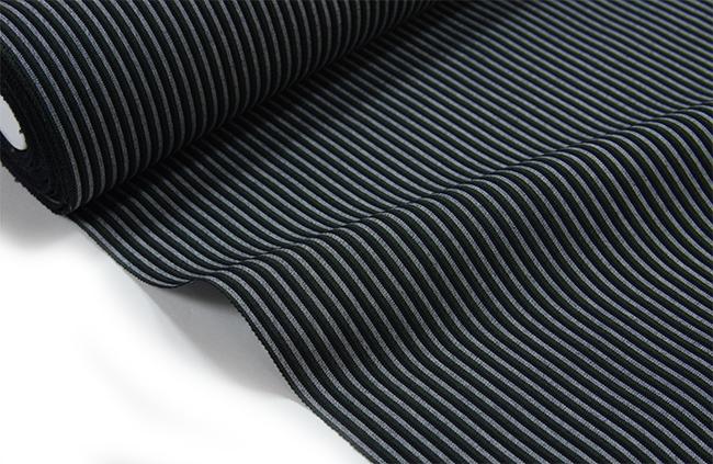 丹後木綿 反物黒・濃鼠・薄鼠縞木綿の着物 【送料無料!】