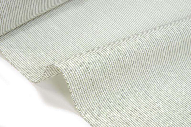 丹後木綿 反物白地に灰薄緑濃淡縞木綿の着物 【送料無料!】