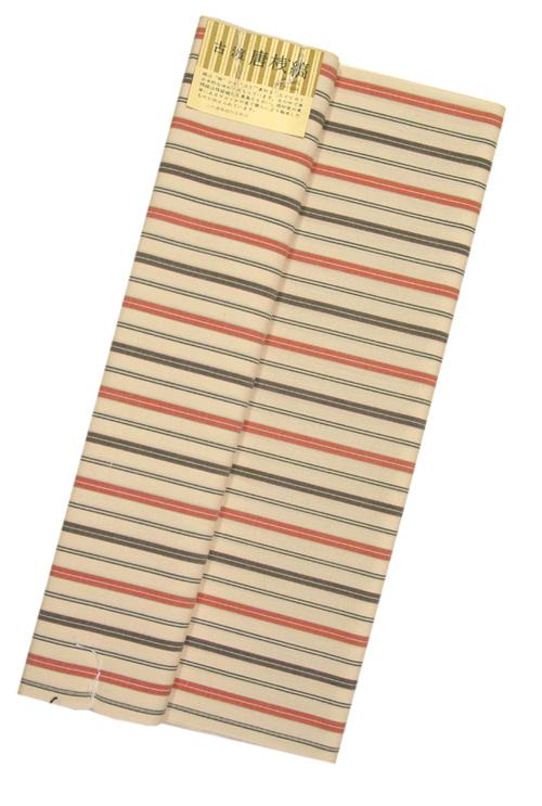 古渡り 綿唐桟反物薄アイボリー地 唐桟縞木綿の着物 送料無料