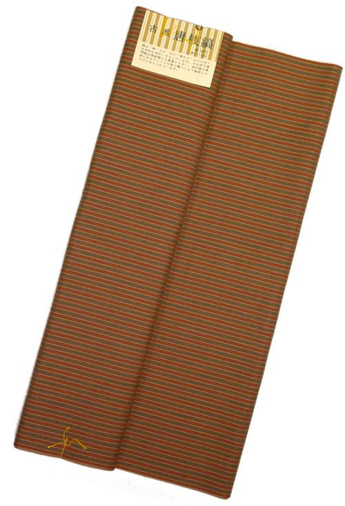 古渡り 綿唐桟反物薄茶地に赤・黒細縞 唐桟縞反物木綿の着物 送料無料