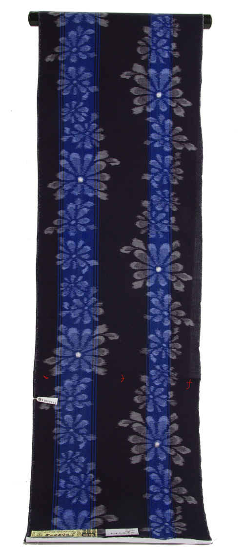 久留米絣濃紺地 青縞に菊花絣綿の着物 【送料無料!】