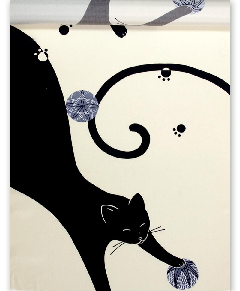 正絹 友禅羽裏 羽二重 肩裏クリーム地 のびネコ  長尺 猫【送料無料!】