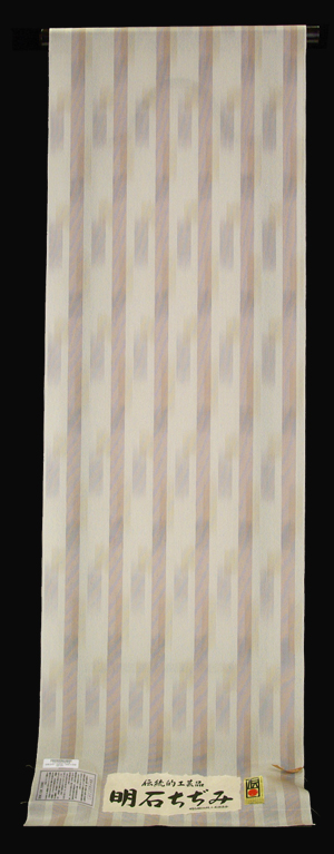 夏物処分SALE!伝統的工芸品正絹 明石ちぢみベージュ地に赤紫・灰藤色 絣縞夏着物【送料無料!】