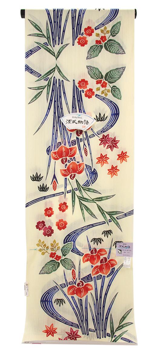夏物処分SALE!源氏物語 紅型調ゆかた地「菖蒲」 綿麻生地 浴衣 東京本染め【送料無料!】