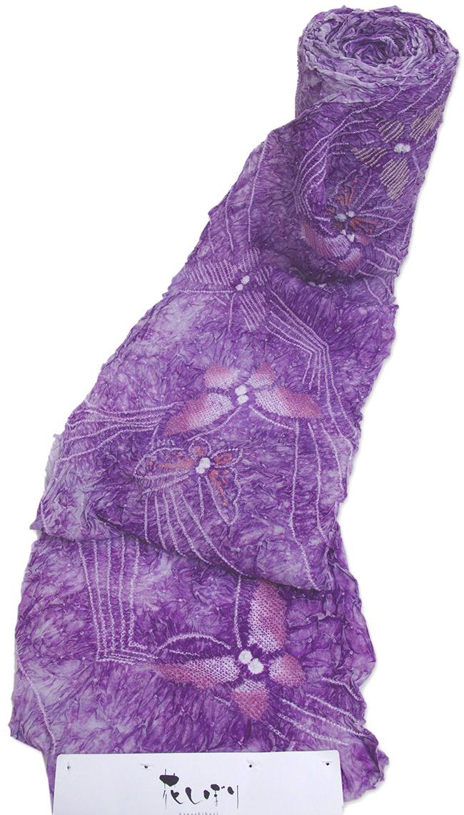 絞りゆかた紫 ぼかし染 蝶柄【巾だしサービス! 送料無料】