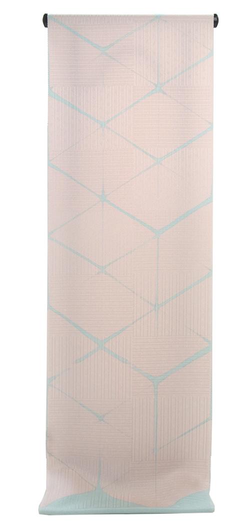 正絹 小紋着尺ピンク地  板締め絞り浅葱色柄出し小紋 【送料無料!】