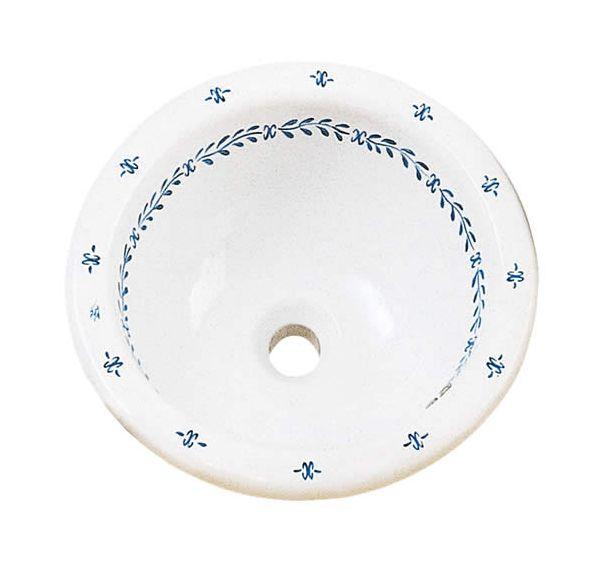 スペイン製洗面ボウル (ストッパー付) φ410 【陶器】 【サニタリーグッズ/ブルーポンペイヤシリーズ】