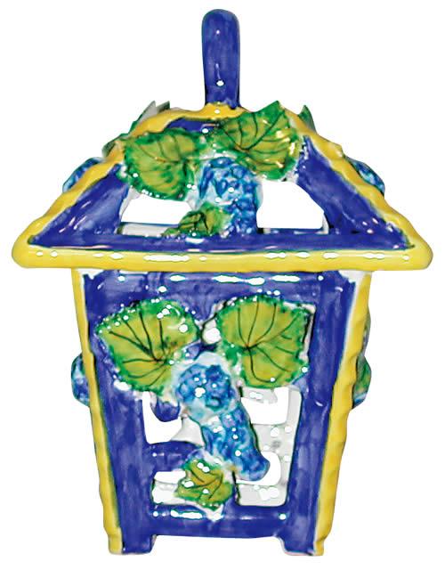 イタリア製ランタン ブルーグレープ (陶器)  ランプ 提灯