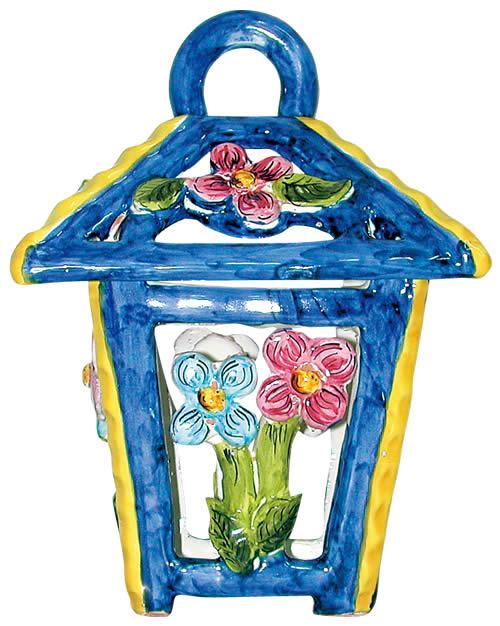 イタリア製ランタン フラワー (陶器)  ランプ 提灯