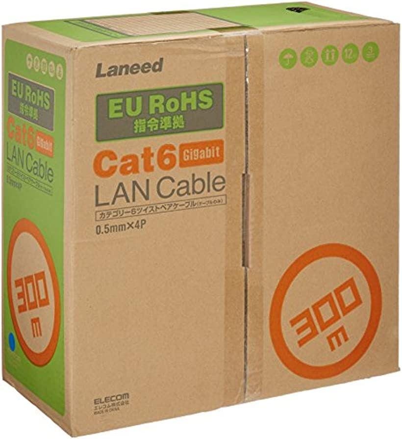 LANケーブル 自作用 RoHS指令準拠 CAT6 ブルー(本体のみ, 300m)