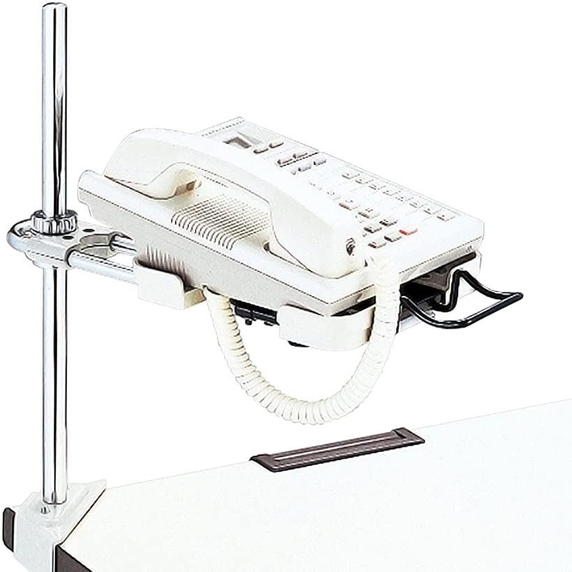 電話機台 コーナークランプ スライド機構付 受皿サイズ可変 皿面H8~40cm 22-319