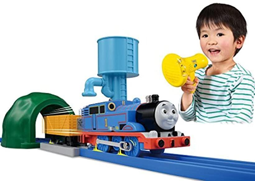 It works in Pla-rail Thomas the Tank Engine voice  My friend Thomas set