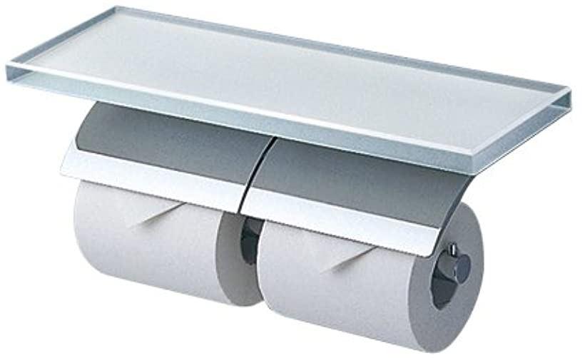 二連紙巻器 棚付き ガラス メタル製 YH63GWS(ホワイト)