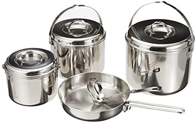 バーベキュー BBQ用 鍋セット 3層鋼キャンピングクッカー Lセット バッグ付M-8601[M-8601]