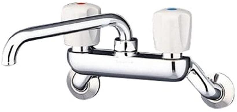 キッチン用水栓 壁付き 2ハンドル混合栓 吐水パイプ上向き[T20A]