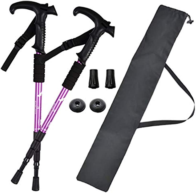 BEATON JAPAN トレッキングポール ウォーキングポール 往復送料無料 現品 T型 登山 2本セット 紫 ストック 軽量 ステッキ杖 ケース付き