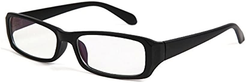 ブルーライトカット クリアレンズ PCメガネ カジュアルタイプ 男女兼用 UV紫外線カット 軽量 パソコンスマホ メガネ保護ケース付き(マットブラック)